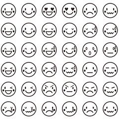 かわいい顔の表情パターンアイコン 白黒