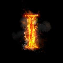 Fire letter I of burning flame light