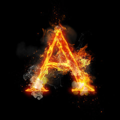 Fire letter A of burning flame light