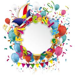 Fasching Luftballons mit Narrenkappe, Konfetti und Masken
