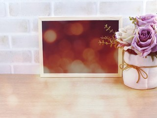 blank photo frame with bokeh filter color background
