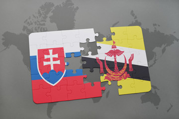 puzzle with the national flag of slovakia and brunei on a world map
