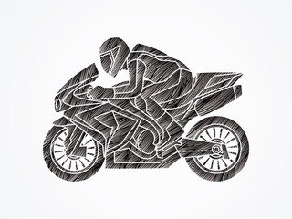 Motorcycle racing side view designed using black grunge brush graphic vector.