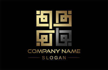 abstract pattern spa logo in gold and metal color