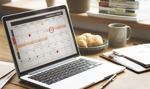 Notebook Calendar Laptop Appointment Schedule COncept