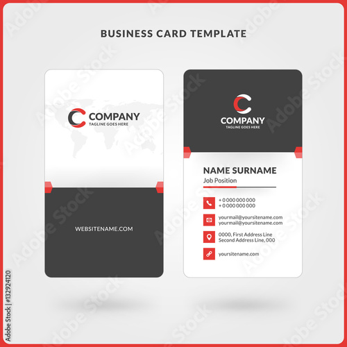 Vertical Double Sided Business Card Template Red And Black Colors Flat Design Vector