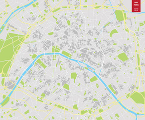 Vector color map of  Paris; France. City Plan of  Paris
