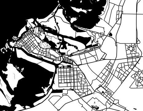 Black and white scheme of the Abu Dhabi, UAE. City Plan of Abu D