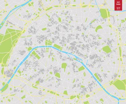 Vector color map of  Paris; France. City Plan of  Paris