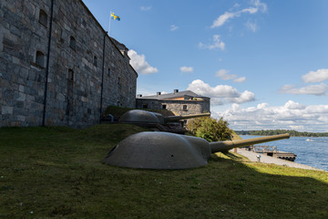 Defensive gun in a fortress Vaxholms kastell, Stockholm. Sweden. 07.08.2016.