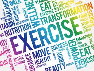 EXERCISE word cloud collage, health concept background