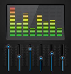 Black digital equalizer with blue slider buttons