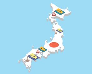 Japanese car assembling industry. Japanese vehicle production vector illustration.