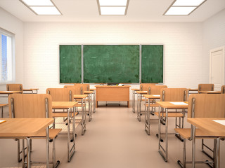 bright empty classroom for lessons and training. 3d illustration