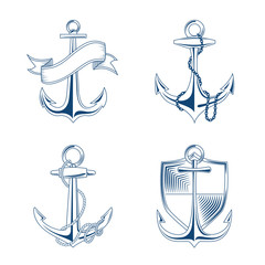 Vector anchor with rope and chain set  illustration