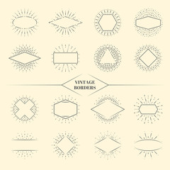 Wall Mural - Vintage beauty sun rays borders or retro circles star exploding frames vector illustration