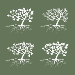 Wall Mural - Simple vector trees. Environmental symbol tree illustration icon set