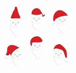 Set of Santa Claus faces. Christmas clothes holiday elements on blue background