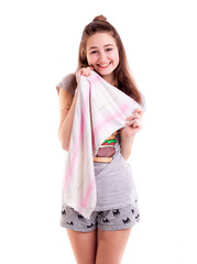 Girl with towel preparing go to sleep isolated
