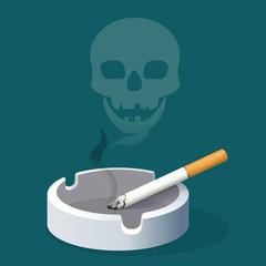 Ashtray with cigarette and skull made of smoke. Smoking