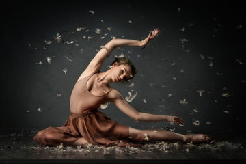 girl dancing barefoot with feathers. ballet. grey background