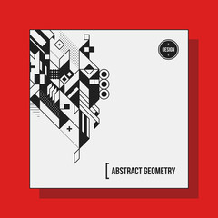 Square background design template with abstract geometric elements. Useful for CD covers, advertising and posters.