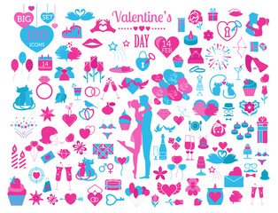 Valentine`s day icon set. Romantic design elements isolated on w