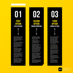 Modern corporate graphic design template with black elements on yellow background. Useful for advertising, marketing and web design.
