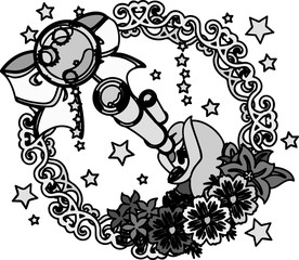 A cute little girl and a wreath of moon and star