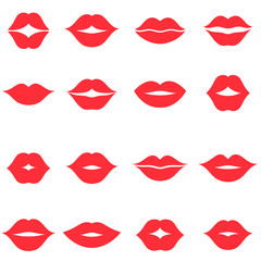 Set of red women s lips icons isolated on white