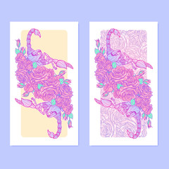 Zodiac sign Scorpio. Detailed realistic scorpio in a decorative frame of roses. Set of vertical banners. Concept art for tattoo design, horoscope, coloring book for adults page.