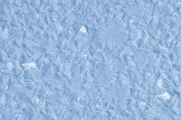 Frozen hoarfrost crystal abstract light blue winter background
