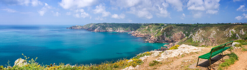 Foto op Canvas Kust Icart point panorama, Guernsey