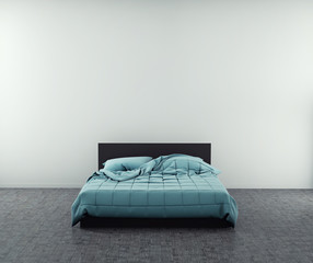 Modern blue bed in big room near the empty wall. mockup. 3d render