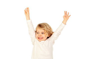 Small blond child raising his arms
