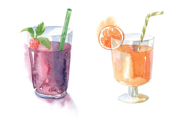 Smoothies watercolor illustration