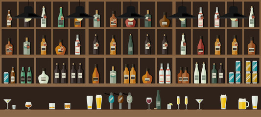 Bar counter with drinks