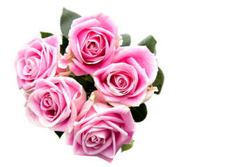 Bouquet of pink roses isolated on white background. For Valentines day or wedding. Space for text.