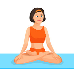 Young girl sitting in lotus posture practices yoga. Vector illustration