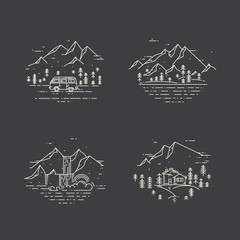 Flat line illustration with wild landscapes, travel concept set on black.