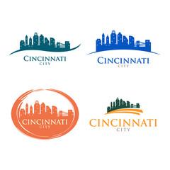 Cincinnati Ohio City Skyline Cityscape Landscape Silhouette Logo