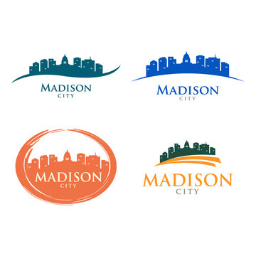 Madison Wisconsin City Skyline Cityscape Landscape Silhouette Logo