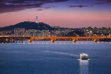 Seoul city and bridge and Han river, South Korea.