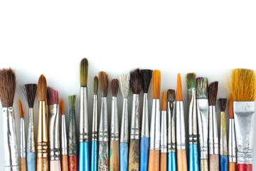 Various Art brush isolated on a white background.