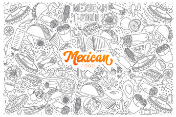 Mexican food doodle set with orange lettering