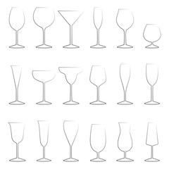 Set of glasses outlines, vector illustration