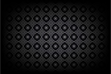 Silver Thai pattern on black background. Seamless pattern of Thailand. Universal pattern for wallpapers, textiles, fabrics, wrapping papers, packaging boxes etc