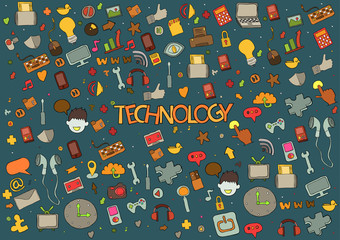 Technology background with media icons hand lettering and doodle