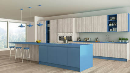 Minimalistic kitchen with wooden and blue details, scandinavian