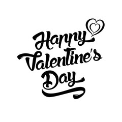 Happy Valentines Day handwritten lettering design text isolated on white background.